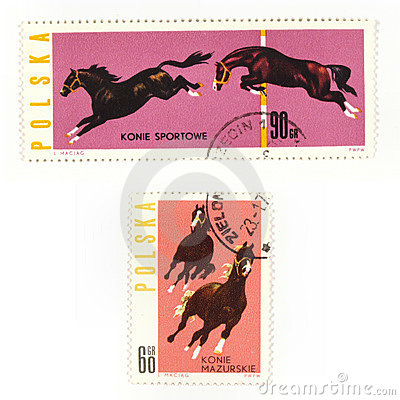 Horses on collectible stamps