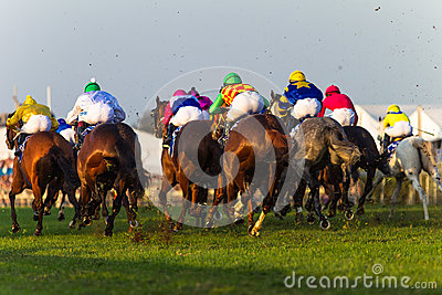 Horses Jockeys Racing Rear Action Editorial Stock Photo