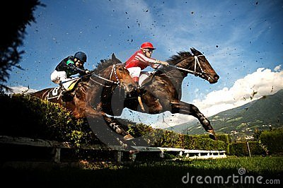 Horses jumping the obstacle Editorial Image