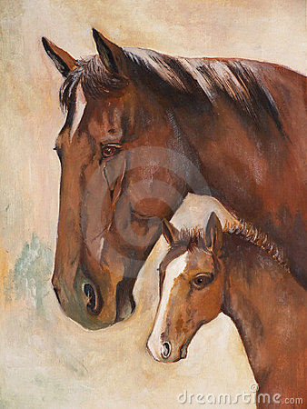 Free Horses, Oil Paint Stock Photography - 5917562