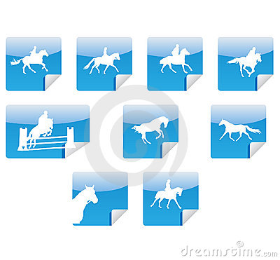 Horses silhouettes icons
