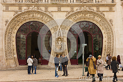 Horseshoe shaped arches Entrance. Rossio Station. Lisbon. Portugal Editorial Stock Photo