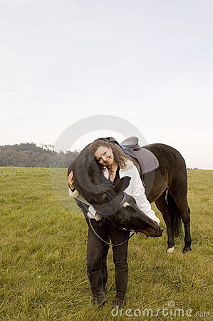 Horsewoman and horse
