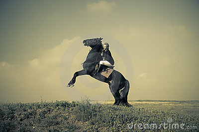 Horsewoman trains the horse / split vintage toned