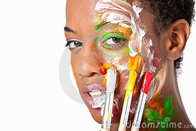 Hort hair african american woman with painted face