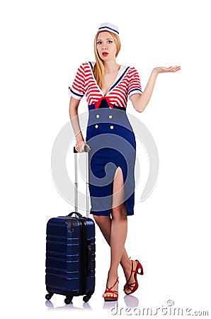Hospedeira de bordo com bagagem