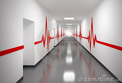 Hospital corridor with red pulse lines on walls