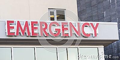 Hospital Emergency sign on ER entrance