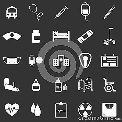 Hospital icons on black background