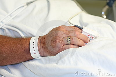Hospital patient s hand with wrist band