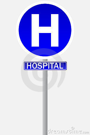 Hospital sign for traffic