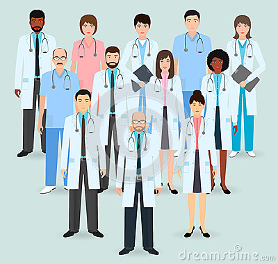 Free Hospital Staff. Group Of Twelve Men And Women Doctors And Nurses. Medical People. Flat Style Vector Illustration. Stock Images - 83912574