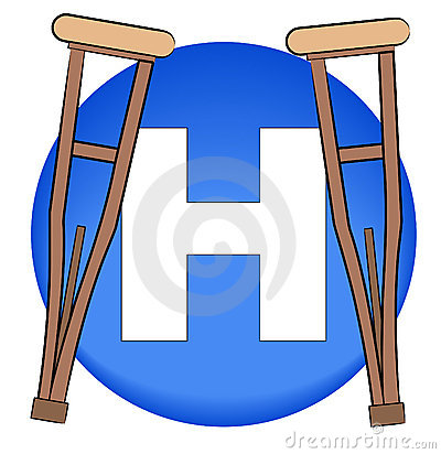 Hospital symbol with crutches