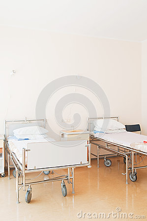 Hospital ward with beds