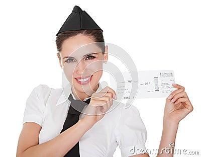 Hospitality hostess presenting a voucher