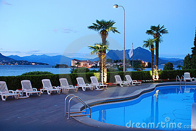 Luxury hotel, Lago Maggiore, Italy. Swimming pool