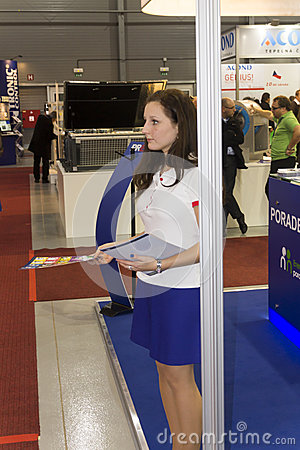 Hostess at AquaTherm 2012 in Prague Editorial Stock Image