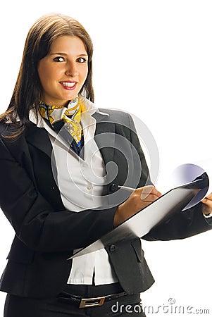 Hostess smiling