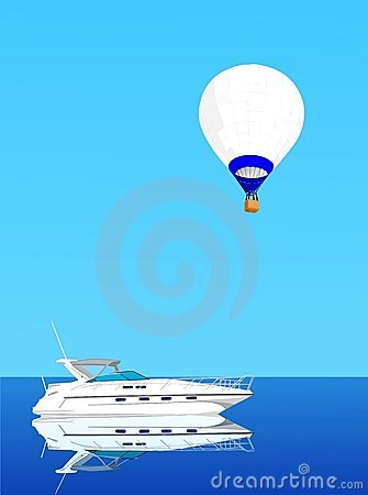 Hot air ballon and yacht