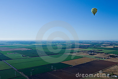 From hot air balloon above the valley