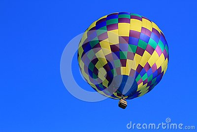 Hot Air Balloon Aloft in Blue Sky-Achievement