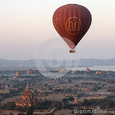 Hot Air Balloon - Bagan - Myanmar (Burma) Editorial Stock Photo