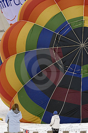 Hot air balloon being inflated Editorial Stock Image
