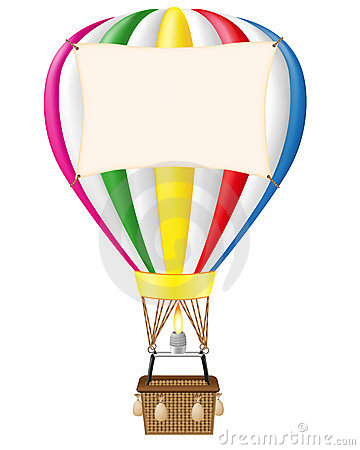 Hot air balloon and blank banner