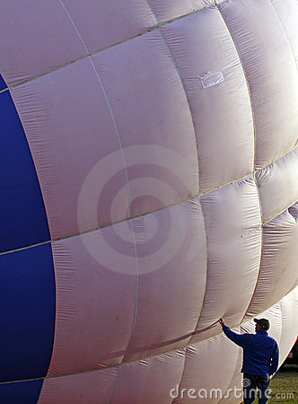 Hot air balloon crew member check Editorial Stock Photo
