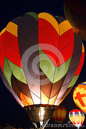 Free Hot Air Balloon Evening Glow Color Light Show Stock Photos - 42839273