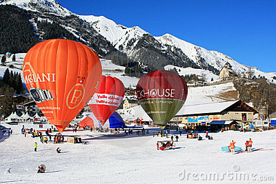 Hot-air balloon festival Chateau d Oex, 2009 Editorial Photo