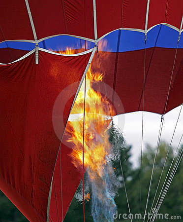 Hot air balloon flame closeup