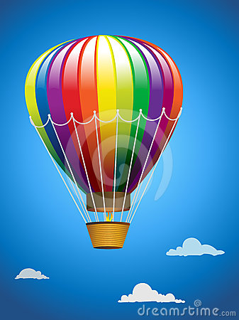 A hot air balloon in flight