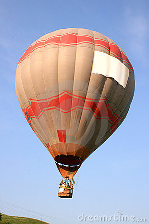 Hot air balloon in flight