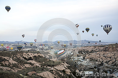 Hot air balloon flight in Cappadocia, Turkey. Editorial Stock Photo