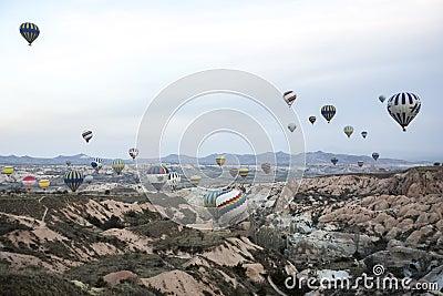 Hot air balloon flight in Cappadocia, Turkey. Editorial Stock Photo