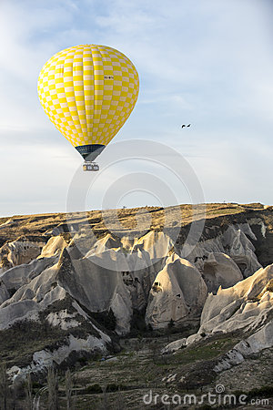 Hot air balloon flight in Cappadocia, Turkey. Editorial Stock Image