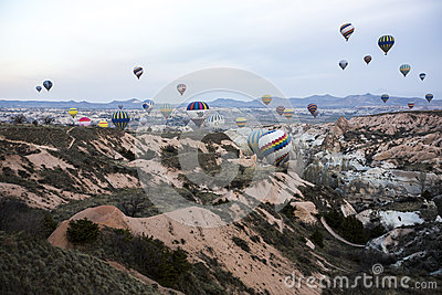 Hot air balloon flight in Cappadocia, Turkey. Editorial Photo