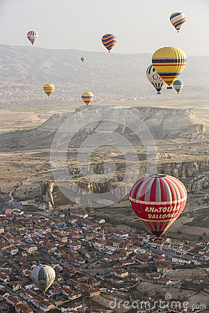 Hot air balloon flight in Cappadocia, Turkey. Editorial Photography