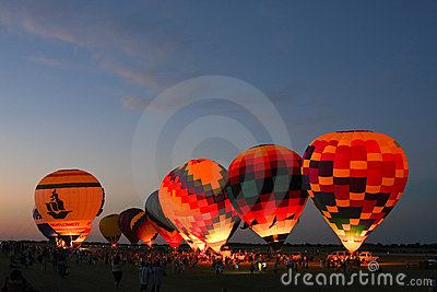 Hot Air Balloon Glow At Night Editorial Image