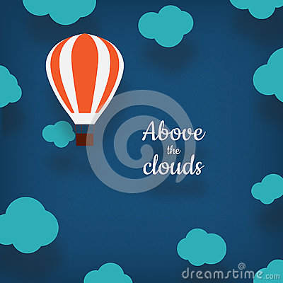 Hot air balloon illustration with a place for your text in carto