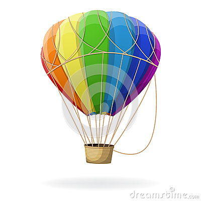 Free Hot Air Balloon In Rainbow Colors . Royalty Free Stock Photo - 68993445