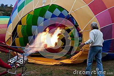 Hot air balloon inflating Editorial Image