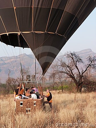 Hot air balloon landing Editorial Stock Image