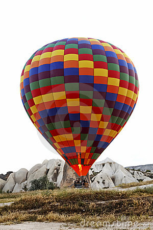 Hot air balloon lift off ground flame Editorial Photography