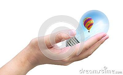 Hot air balloon in light bulb