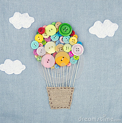 Hot air balloon made of multicolored buttons1 stock photo for Craft buttons for sale