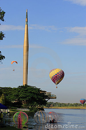 Hot Air Balloon and New Millenium Tower Editorial Photography