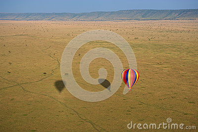 Hot air balloon over Masai Mara