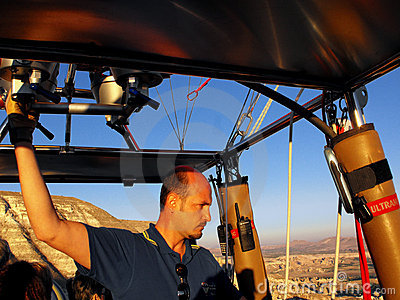 Hot Air Balloon Pilot in Cappadocia, Turkey Editorial Stock Photo
